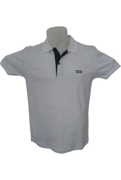 Boss Erkek Beyaz Polo Yakalı Düğmeli Nokta Desenli Kısa Kollu Pamuklu T-Shirt