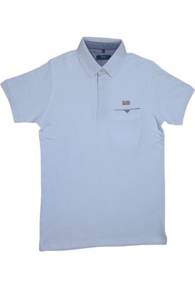 Boss Erkek Beyaz Polo Yakalı Düğmeli Kısa Kollu Cepli Pamuklu T-Shirt
