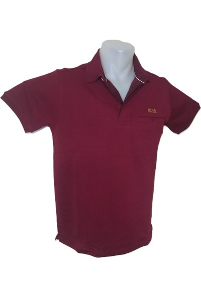 Boss Erkek Bordo Polo Yakalı Düğmeli Kısa Kollu Cepli Pamuklu T-Shirt