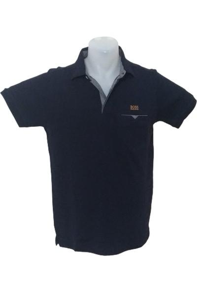 Boss Erkek Lacivert Polo Yakalı Düğmeli Kısa Kollu Cepli Pamuklu T-Shirt
