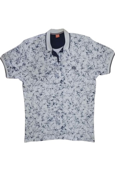 Boss Erkek Beyaz Büyük Beden Polo Yakalı Düğmeli Desenli Kısa Kollu Pamuklu T-Shirt