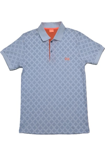 Boss Erkek Beyaz Polo Yakalı Düğmeli Ekoseli Kısa Kollu Pamuklu T-Shirt