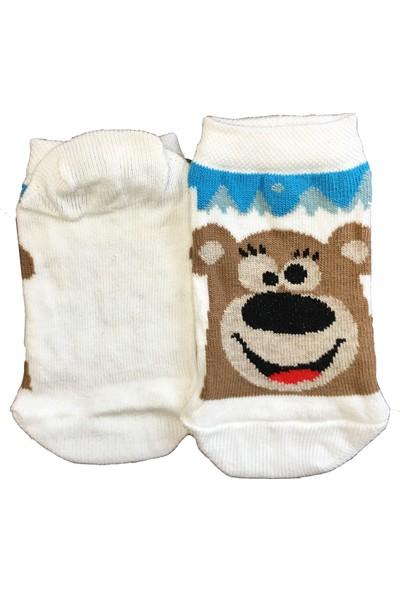Calze Vita Ayıcık Desenli Beyaz Renk Kısa Çocuk Çorabı