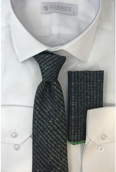 Quesste Erkek Yeşil Lacivert Çizgili Desenli Kravat Mendil Kutulu Set