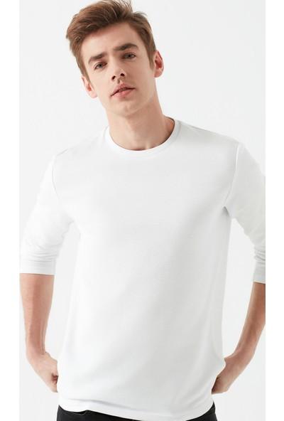 Mavi Erkek Uzun Kollu Beyaz Basic Tişört 064622-20454