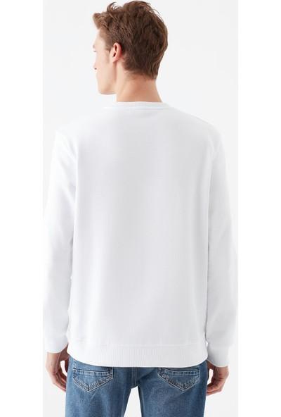 Mavi Erkek Mavi Logo Baskılı Beyaz Sweatshirt 065752-620
