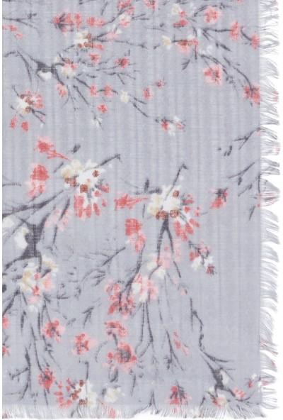 Mavi Kadın Çiçek Desenli Gri Şal 196285-28386