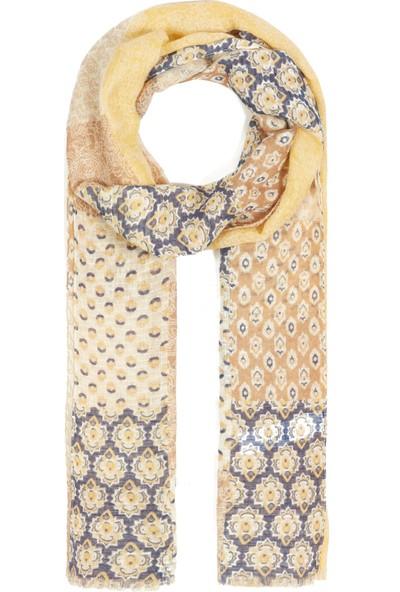 Mavi Kadın Desenli Sarı Şal 197191-30719