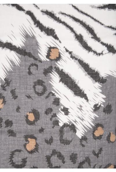 Mavi Kadın Zebra Desenli Şal 197840-32162