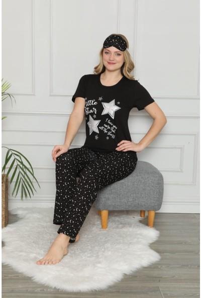 Pijamoni Kadın Kısa Kollu Siyah Pijama Takımı