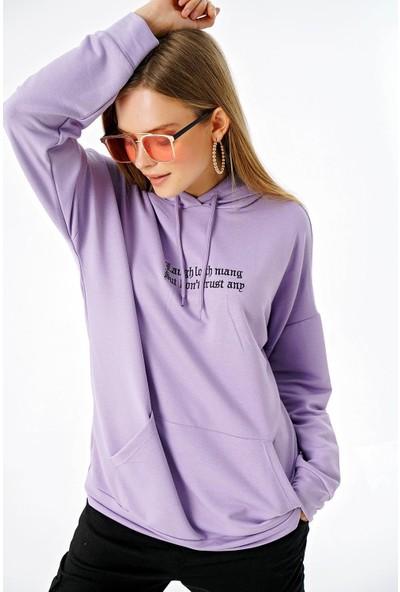 Şimal Kadın Onu Yazılı Kapüşonlu Cepli Oversize Sweatshirt