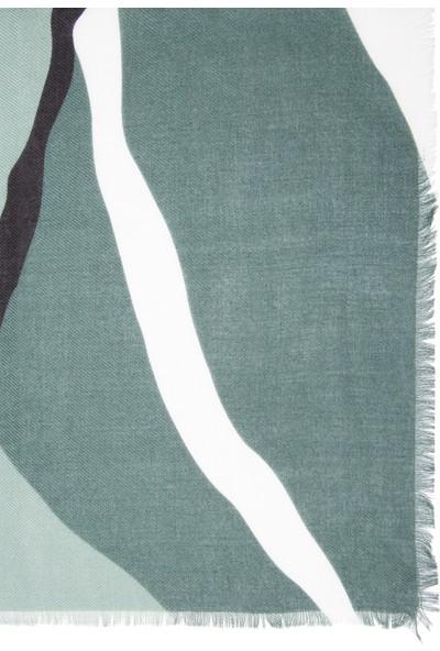 Mavi Desenli Yeşil Şal