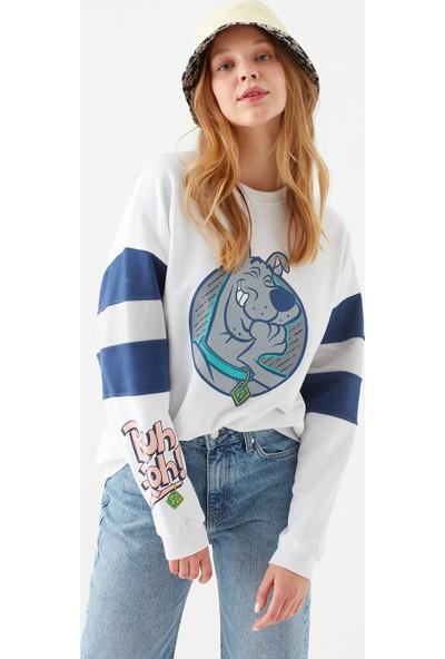 Mavi Kadın Scooby Doo Baskılı Beyaz Sweatshirt 1600828-620