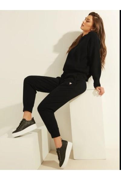 Guess Düşeş Guess 3 Iplik Şardonlu Yazılı Siyah Sweatshirt