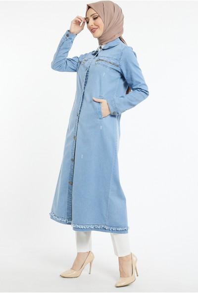 Asfa Moda O-7555 Uzun Cepli Kot Ceket - Mavi
