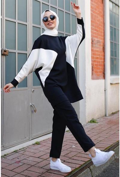 Asfa Moda 2012 Parçali Asimetrik Ikili Takim - Siyah