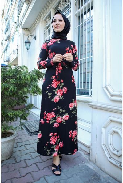 Asfa Moda 5008 Gül Desenli Yazlık Tesettür Elbise Siyah