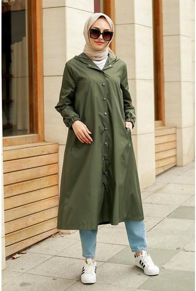 Asfa Moda 5231 Uzun Yağmurluk - Haki