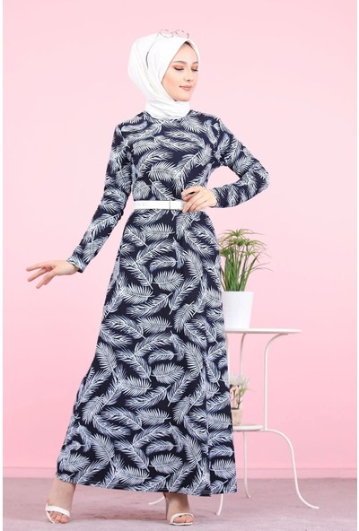 Asfa Moda 8506 Desenli Tesettür Elbise - Lacivert
