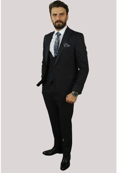 Deri̇go Lacivert Erkek Yelekli Takım Elbise 6760311