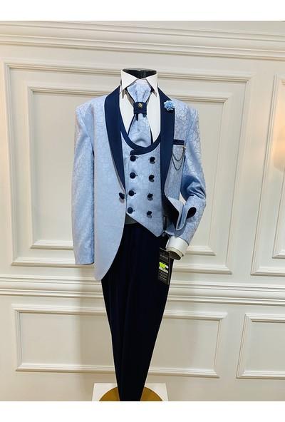 Harput Collection Mavi Jakarlı Çocuk Takım Elbise