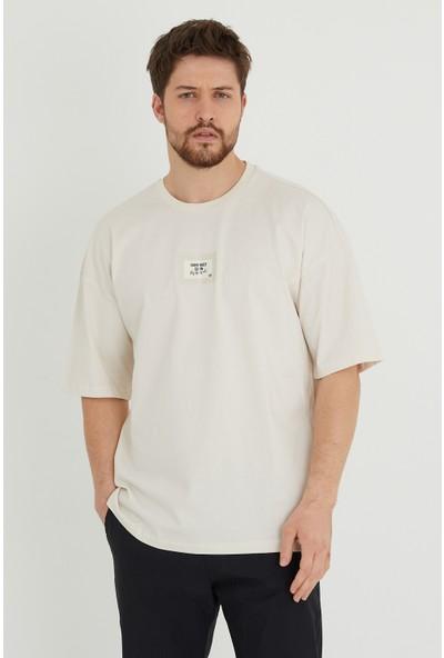 Xhan Taş Rengi Baskılı Oversize T-Shirt 1KXE1-44634-56