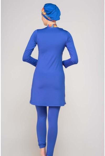 Alfasa 285 Uzun Kol Taytlı Tam Kapalı Tesettür Mayo Sax Mavi