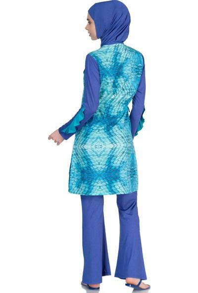 Alfasa 377 Uzun Kol Pantolon Desenli Ispanyol Paça Tam Kapalı Tesettür Mayo Sax Mavi