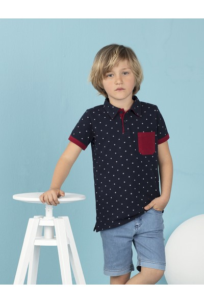 Mushi Baskılı Puanlı Polo Yaka Erkek Çocuk T-Shirt