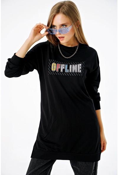 Şimal Kadın Offline Baskılı Uzun Yırtmaçlı Sweat