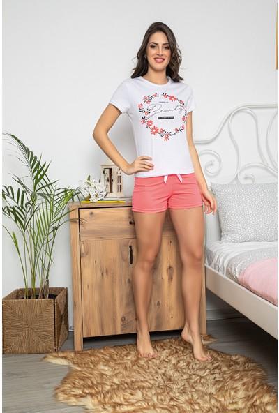 My Ben Myben Beyaz Renkli Kısa Kollu Şortlu Kadın Pijama Takımı 30067