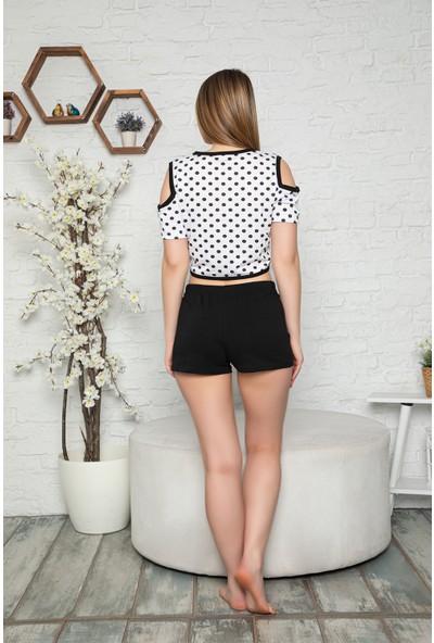 My Ben Myben Siyah Renkli Askılı Puantiyeli Desenli Şortlu Kadın Pijama Takımı 30081
