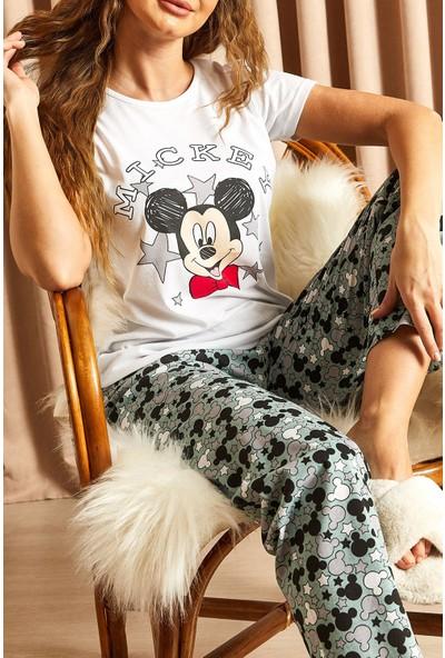 Hadise Desenli Mickey Baskılı Pijama Takımı Çağla