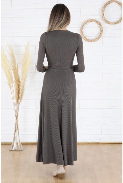 Arlin Kadın Kaşkorse Maxi Kruvaze Yaka Kuşak Bağlamalı Uzun Kollu Haki Elbise