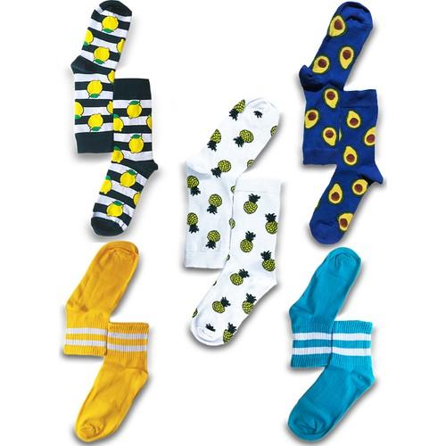 Hi-socks Renkli Desenli 5'li Çorap Seti
