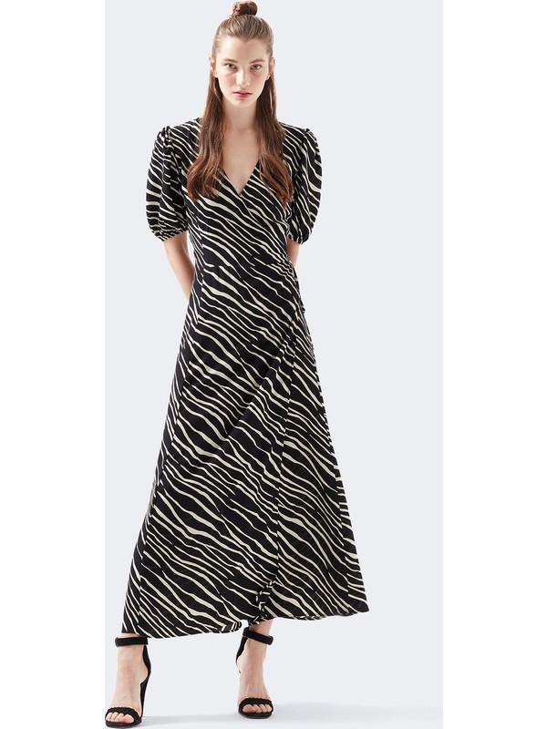 Mavi Kadın Zebra Desenli Siyah Anvelop Uzun Elbise 130994-32469