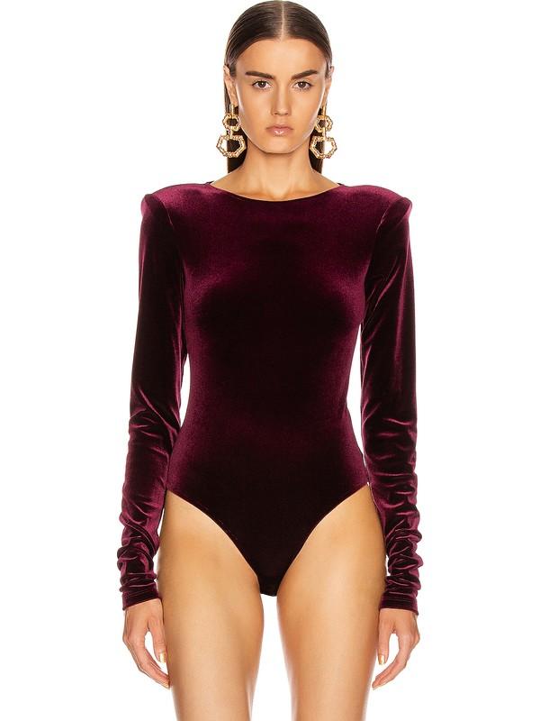 By Umut Design Kadife Vatkalı Bodysuit