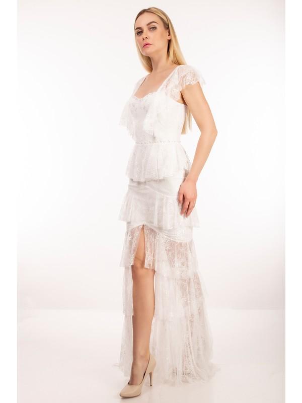 Elbisemhazır Fransız Dantel Beyaz Renk Bayan Abiye Elbise 7189