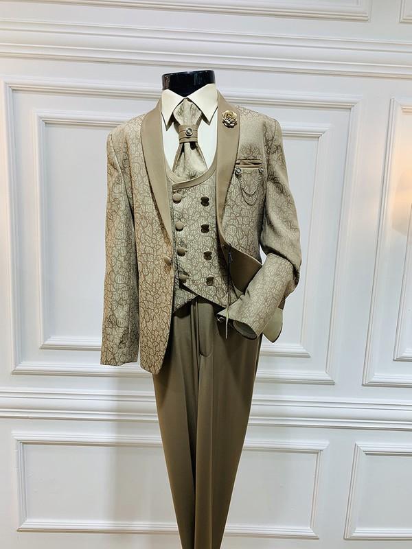 Harput Collection Bej Jakarlı Çocuk Takım Elbise
