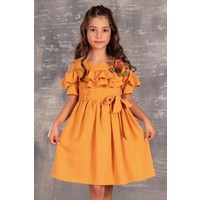 Minik Dolap Hardal Rengi Yakası Fırfırlı Kız Çocuk Elbisesi