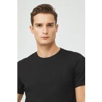 Avva Erkek Siyah Bisiklet Yaka Düz T-Shirt E001000