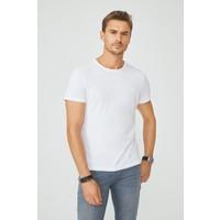 Avva Erkek Beyaz Bisiklet Yaka Düz T-Shirt E001000