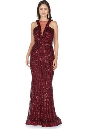 Carmen Bordo Çizgili Payetli Balık Abiye Elbise