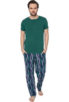 Akare 705 Pamuklu Kısa Kollu Cepli Yazlık Erkek Pijama Takımı Ev Pijaması