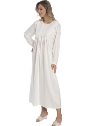 Akala Akala-Dy Pamuklu Uzun Kol Penye Kadın Gecelik 9004