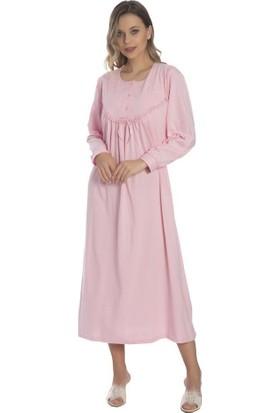 Akala Akala-Dy Pamuklu Uzun Kol Penye Kadın Gecelik 9005