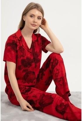 Wesha Düğmeli Kırmızı Kısa Kollu Kadın Pijama Takımı