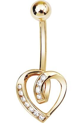 Altın Sepeti Altın Kalpli Göbek Piercing
