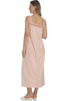 Akala Akala-Dy Pamuklu Dantel Askılı Penye Anne Kadın Gecelik 9011