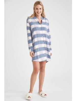 Defacto Kareli Gömlek Tasarımlı Gecelik T1101AZ20WN